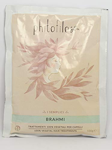 PHITOFILOS - Poudre de Brahmi - Idéal pour le traitement capillaire - Volumateur, anti-chute, anti-pelliculaire et action renforçante - Vegan - 100 gr