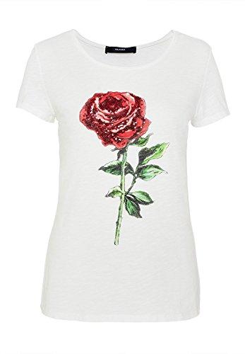 HALLHUBER T-Shirt mit paillettenverziertem Rosendruck gerade geschnitten Offwhite