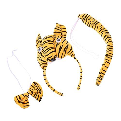 �m Set - Haarreif, Fliege und Schwanz, Kinder Kostüm für Fasching Karneval Party (Tiger Kostüm Stirnband)