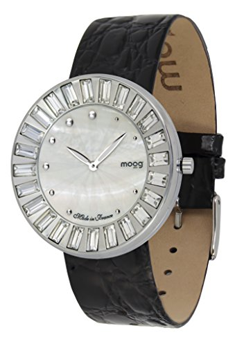 Moog Paris Sunshine Women's Watch with White Mother of Pearl Dial, Black Genuine Leather Strap & Swarovski Elements - M45431-404