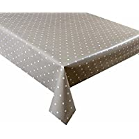 2 metres (200 x 137cm) vinyl tablecloth, 6 Seater Size, beige polka dot, wipe clean textile backed VINYL TABLE CLOTH (72)