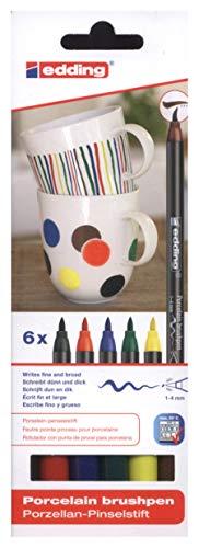 edding 4200 Porzellan Pinselstift (auch für Glas und Keramik). Standardfarben mit 6 Stiften. Zum spülmaschinenfesten bemalen und beschriften von Geschirr, Tassen und Gläsern. -