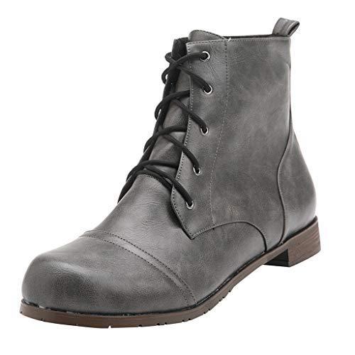 Sunnywill Stiefel Damen Schwarz Leder Mit Absatz Schuhe Elegant Herbst Boots Blockabsatz Lace Up Knöchel nackten Paares Square Heel Casual Short -