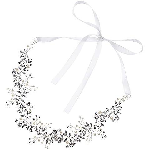 AlicePub da sposa, in argento, con perle di cristallo-Fascia per capelli, donna, pianta rampicante