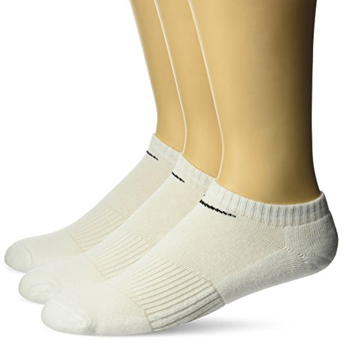 Nike No Show Socks 3PPK Cushion, Black/White, L, SX4702-101 (Sock Pack No Show Zwei)