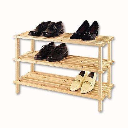 XL Schuhregal Natur Holz - 3 Böden Holz Schuhständer Schuh Regal Holzregal Schuhablage Shoe Rack