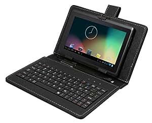 """Tagital® T7X Tablette tactile 7"""" Android 4.4 KitKat Quad Core Bluetooth Play store pré-installé Double caméra WiFi Clavier QWERTY Fourni (Noir)"""