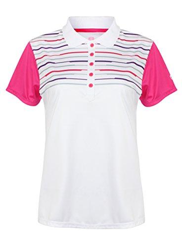 Hochwertiges Damen Polo Shirt, Gr.40, Marke ISLAND GREEN 1484 White & Hot Pink, Logo, 4er Knopfleiste, farbliche abgesetzte Ärmel, Streifen auf oberem Teil, sportlich atmungsaktiv extra Dry Gr.40 (1-streifen-polo)