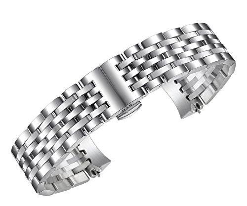 12mm fabelhaft schmal silberne Uhr Band Armband für Damen Luxus massiver Edelstahl mit gebogenem Ende