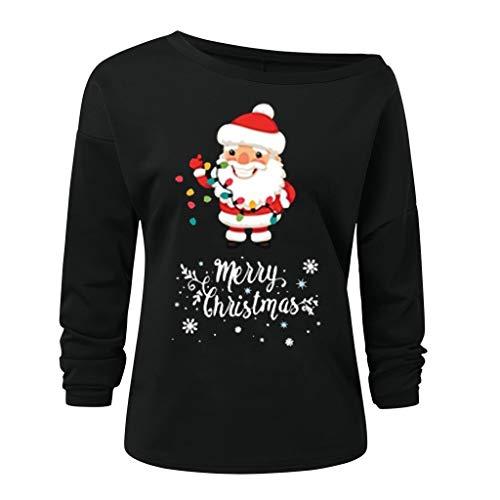 LoveLeiter Damen Oversize Tshirts Langarmshirts Schulterfrei Pulli Weihnachten Drucken Herbst V-Ausschnitt Trägerlose Schulter Casual Bluse Oberteile