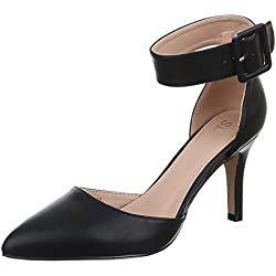 Damen Schuhe, 9782-P, PUMPS, HIGH HEELS SANDALETTEN, Synthetik in hochwertiger Lederoptik , Schwarz, Gr 37