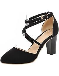 Amazon.es  Zapatos Tacon Ancho - RAZAMAZA CENTER   Sandalias de ... 6ba1ac22e685