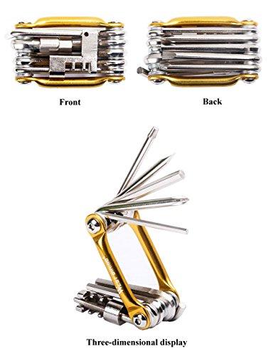 West Biking Werkzeug-Set zum Reparieren und Warten von Fahrrädern, Edelstahl, klein, kompakt, leicht, für Stadträder und Mountainbikes, Schwarz, goldfarben, Blau, Rot Gold