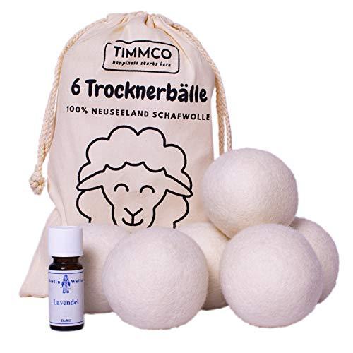 TIMMCO 6 Trocknerbälle mit Lavendel Duftöl   Trockner Bälle Neuseeland Schafwolle   Wäschetrockner Wollbälle   Trockner Kugel   Ball Trockner weiß