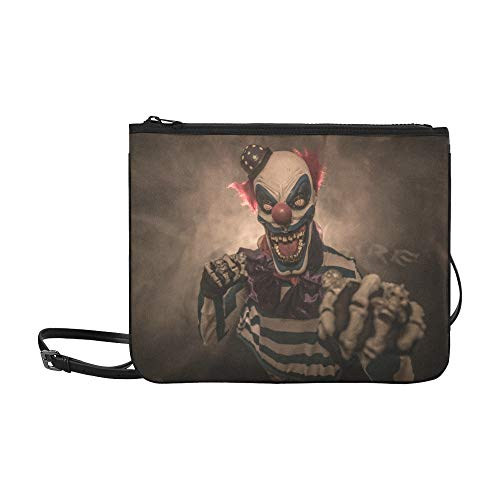 EIJODNL Evil Scary Clown Monster Pattern Benutzerdefinierte hochwertige Nylon Slim Clutch Cross Body Bag Schultertasche