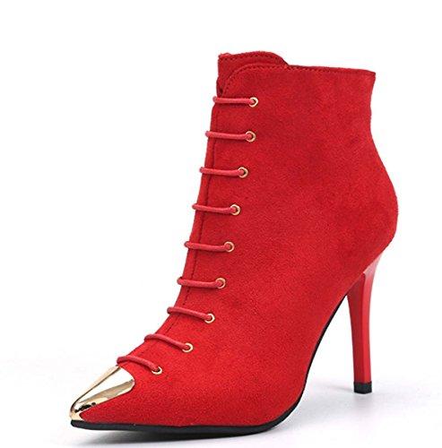 Stiefelette Spitze Stiefel Einfache Stiletto-Ferse Chelsea Boot Block Heel Knight Boot Wildleder Herbst / Winter Frauen Mode Boot Hochzeit Schuhe ( Color : Red , Size : 37 ) (Block-ferse-knie-boot)