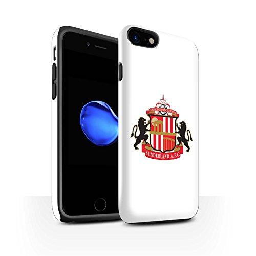 Offiziell Sunderland AFC Hülle / Glanz Harten Stoßfest Case für Apple iPhone 8 / Schwarz Muster / SAFC Fußball Crest Kollektion Weiß