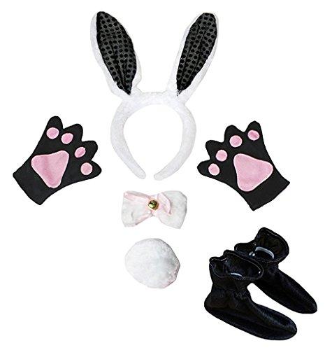 d Bowtie Schwanz Handschuhe Schuhe 5pc Kostüm Einheitsgröße Schwarz Weiß Häschen ()