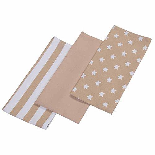 Homescapes – Pur Coton – Torchons Vaisselle – Lot de Trois – Étoiles – Beige Blanc – 18 x 32 cm - Linge de Cuisine Entièrement Coordonné et Lavable