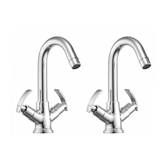 Drizzle Basin Mixer Soft Brass Chrome Plated/Centre Hole Basin Mixer/Pillar Cock Tap/Water Mixer Tap For Wash Basin/Bathroom Tap/Quarter Turn Foam Flow Tap - Set of 2