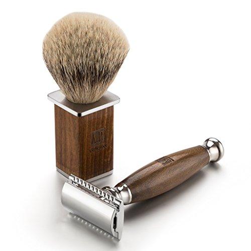 A.P. Donovan - Luxus Rasierhobel im Reise-Etui - mit grünem Wacholderholz-Griff, Rasierpinsel aus Silberdachs-Haar, geschlossener Kamm - im Set