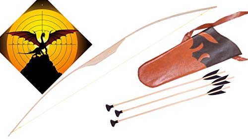 filounior Kinderbogen 100 cm aus Eschenholz mit 3 Pfeilen & Köcher Pfeil und Bogen Holzbogen Set Zielscheibe (Drache)