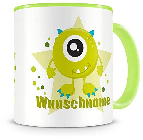 Samunshi Kinder-Tasse mit Namen und einem grünen Monster als Motive Kaffeetasse Teetasse Becher...