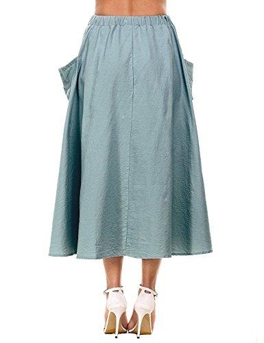 Omela Damen Leinen Sommerrock Langer Rock Hippie Strandrock Maxirock mit Taschen Navy Blau