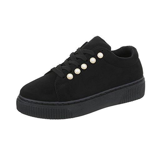 Chaussures femme Mocassins Plat Chaussures à lanière Ital-Design noir SP1809