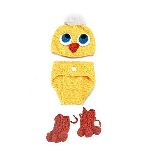 NROCF Huhn gelb niedlichen Anzug Neugeborenen Fotografie Kostüm, häkeln, mit Schuhen, Cartoon handgemachte Baby Fotografie Requisiten