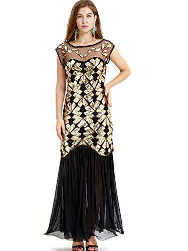 WNLZL Damen der 1920er Jahre Vintage Perlen Pailletten Kleid Gatsby Prom Kleidung Maxi Abendkleid für Prom Cocktail Geburtstagsparty,Gold,S (Der 1920er Jahre Kleidung)