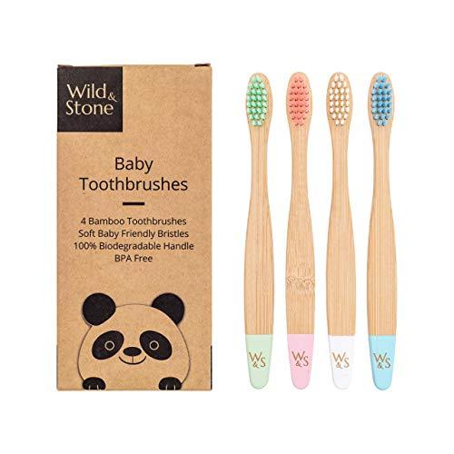 Wild & Stone | Cepillo de dientes de bambú orgánico para bebés | Cuatro colores | Cerdas de fibra | Mango 100{8ec319593d598abbf83703eaa77cd8928f1412365baf2396b19a22d493c337d5} biodegradable | Cepillos de dientes veganos ecológicos para bebés