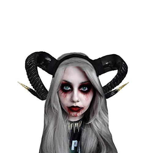 Halloween Hexe Kopfschmuck Damen Karneval Party Maskerade Ball Prom Gothic Ziegenhorn Stirnband Stirnbänder Festliche Cosplay Kostüm Haarschmuck Schwarz Evil Queen Cosplay Stirnbänder