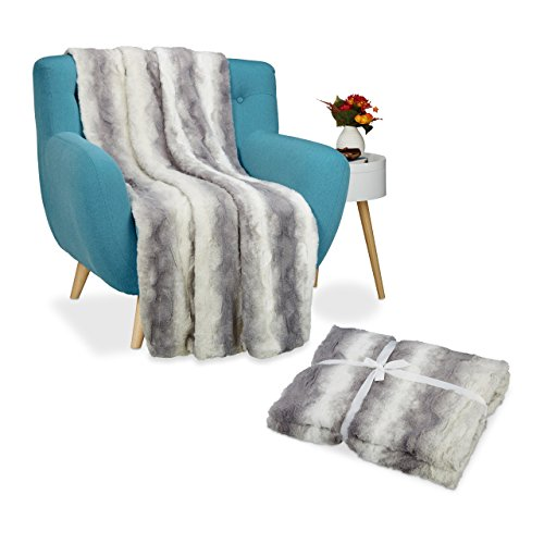 2x Kuscheldecke Felloptik im Set, Wohndecke XXL, Tagesdecke flauschig, Decke Fellimitat 150x200 cm, waschbar, weiß-grau (Fell-fleece-set)