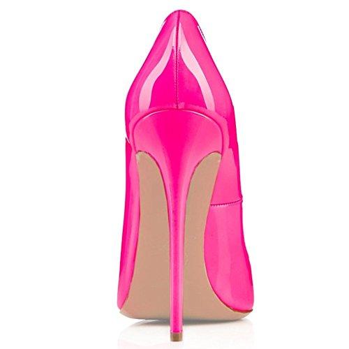 EDEFS Damen Spitze Zehe Schuhe 120mm High Heel Pumps Hohen Absätzen Geschlossen Abendschuhe LackRose