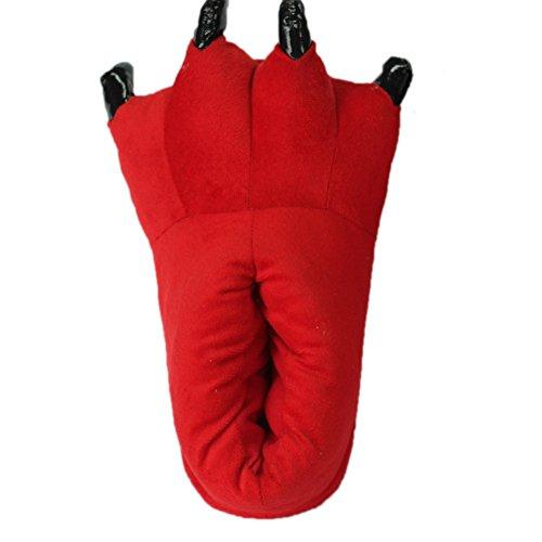 LATH.PIN Unisex Puschen Plüsch Hausschuhe Pantoffeln Kostüme Tierhausschuhe Geschenkidee Rot