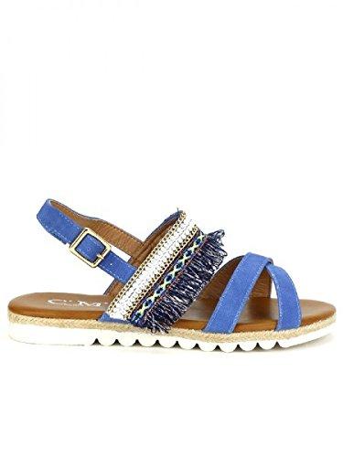 Cendriyon, Sandale Blue Jean C'M MODANA Chaussures Femme Bleu