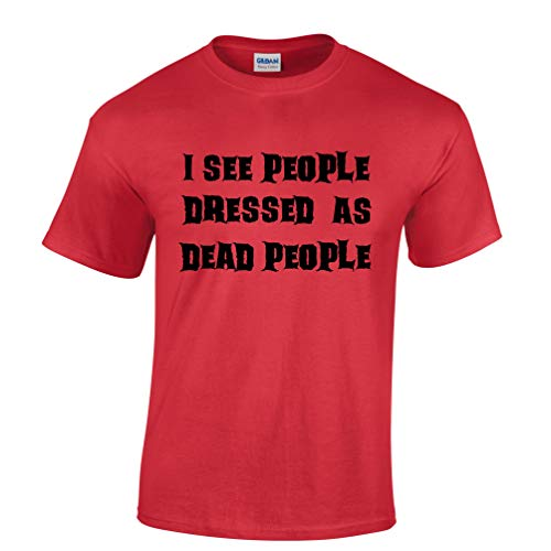 Neuheit Halloween T-Shirt Ich Sehe Menschen, gekleidet als Tote Red XXX-Large