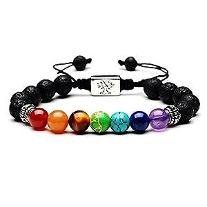 RIVERTREE Armband mit Lavastein und Perlen, 7Chakren-Edelsteine, mit geflochtenem Seil, Unisex, 8mm