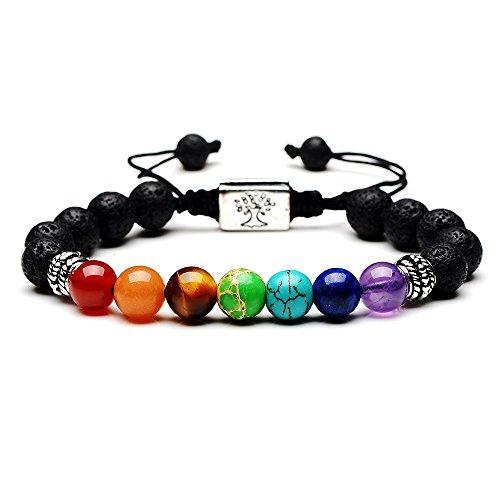 Rivertree Jewellery Armband mit Lavastein und Perlen, 7Chakren-Edelsteine, mit geflochtenem Seil, Unisex, - Mit Türkis-perlen Armband