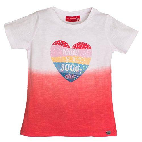 SALT AND PEPPER Mädchen T-Shirt Smile Print Dip&Dye, Rot (Hibiscus 335), 92 (Herstellergröße: 92/98) (Rotes Dip Dye)