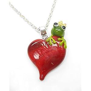 handgefertigter Anhänger aus Glas mit Frosch und Herz