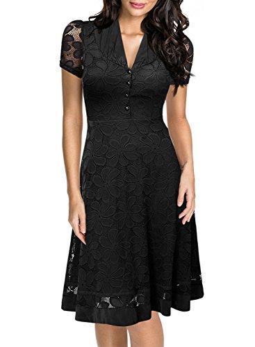 Miusol Damen Elegant Sommerkleid V-Ausschnitt Kurzarm Business CocktailKleid Spitzen Party Kleid...