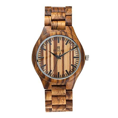 QYS Herrenuhr mit Zebra-Armbanduhr aus Holz, bestes Valentine-Geschenk für ihn BEWELL W086B Analoge 12H-Zeitanzeige Quratz-Uhr für Männer,Brown Zebra Design Pc