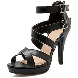 Mujer Romana Sandalias Sandalias De Tamaño Grande Mujer 40-43 Tacones Altos Impermeable Plataforma Cinturón De Hebilla Correa De Tobillo Zapatos Verano , black , 39
