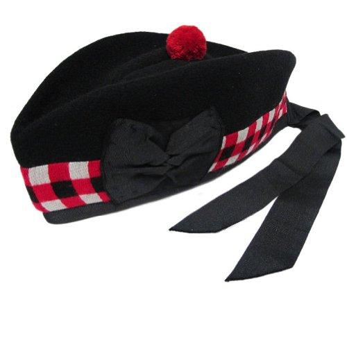 Glengarry-Hut mit kariertem Unterstoff - Schwarz - GB- und US-Größen