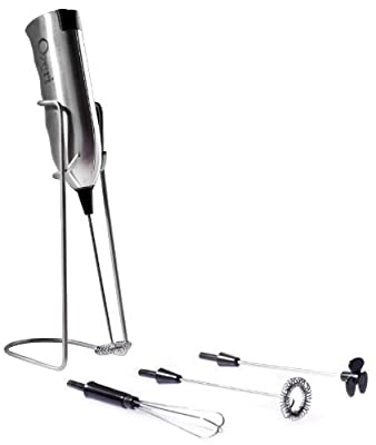 Ozeri Deluxe Milk Frother & Whisk in Stainless Steel, with Stand and 4 Frothing Attachments