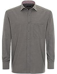 ETERNA Herren Langarm Hemd Comfort Fit grau strukturiert mit Patch 8104.38.E147