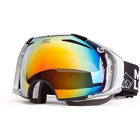 Meetlocks Occhiali da sci/snowboard Occhiali con doppio anti-fog, anti-UV delle lenti e il caso, per lo sci, lo snowboard, motoslitta Eyewear
