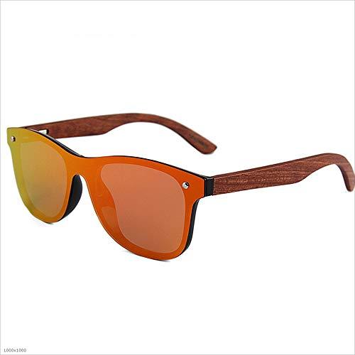 Yiph-Sunglass Sonnenbrillen Mode Persönlichkeit Katzenaugen Einteilige Stil Männer Polarisierte Sonnenbrille Holz Bein PC Rahmen Urlaub Angeln Strand Sonnenbrillen (Farbe : Rot)